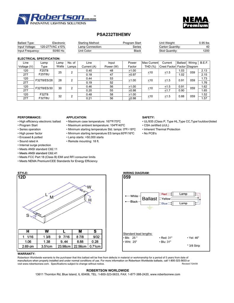 [DIAGRAM_5NL]  PSA232T8HEMV - Robertson Worldwide | T8 Ballast Wiring Diagram Robertson |  | Studylib