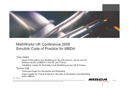 MathWorks UK Conference 2008 Simulink Code of Practice for MBDA
