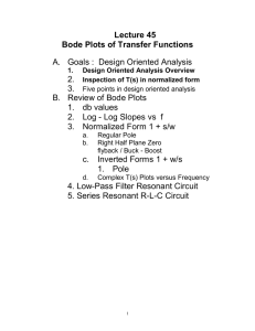 Lecture 45 Bode Plots of Transfer Functions A. Goals : Design