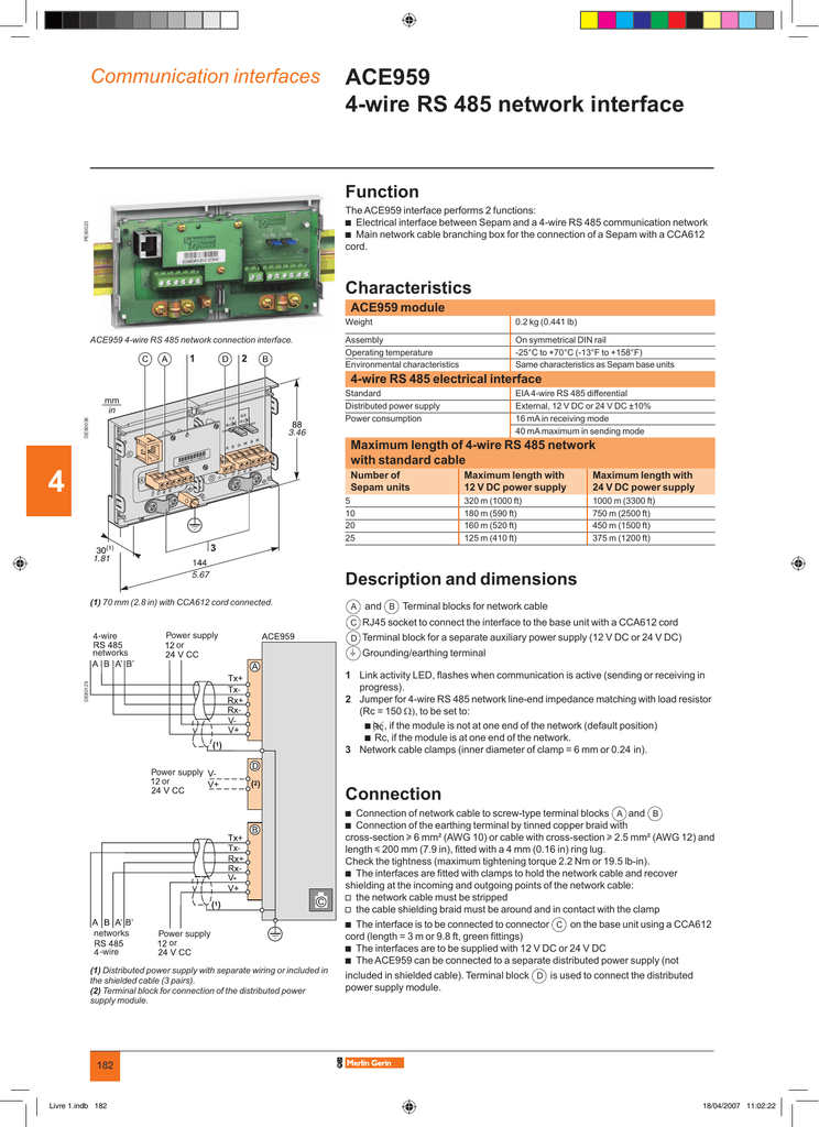 ACE959 4-wire RS 485 network interface