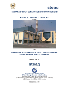 haryana power generation corporation ltd. detailed feasibility report