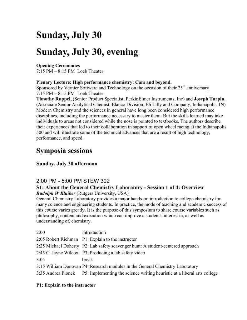 sunday july 30 morning department of chemistry rh studylib net