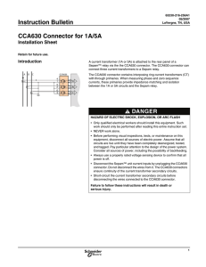 Instruction Bulletin CCA630 Connector for 1A/5A