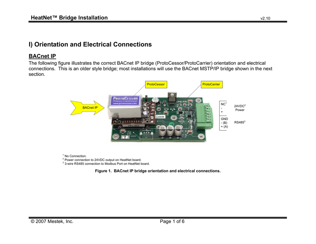 Heatnet Bridge Installation Guide V210 Bacnet Wiring