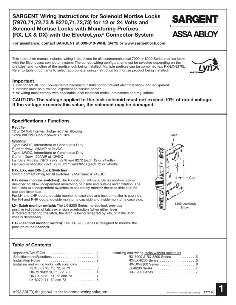Sargent 8271 Wiring Diagram Trusted Assa Abloy Diagrams Instructions For Solenoid Mortise Locks 797071