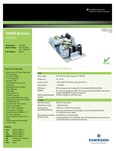 NPS60-M Series Electrical Specifications
