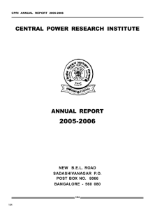 CENTRAL POWER RESEARCH INSTITUTE ANNUAL REPORT