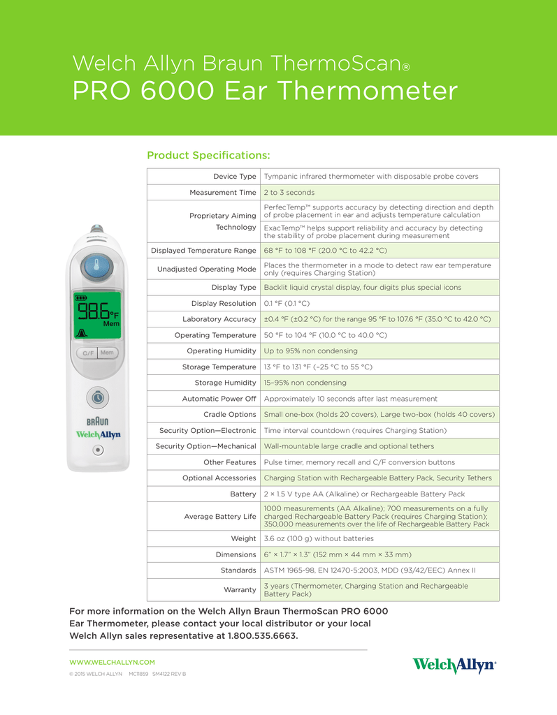 Braun Thermoscan Pro 6000 Specification Sheet