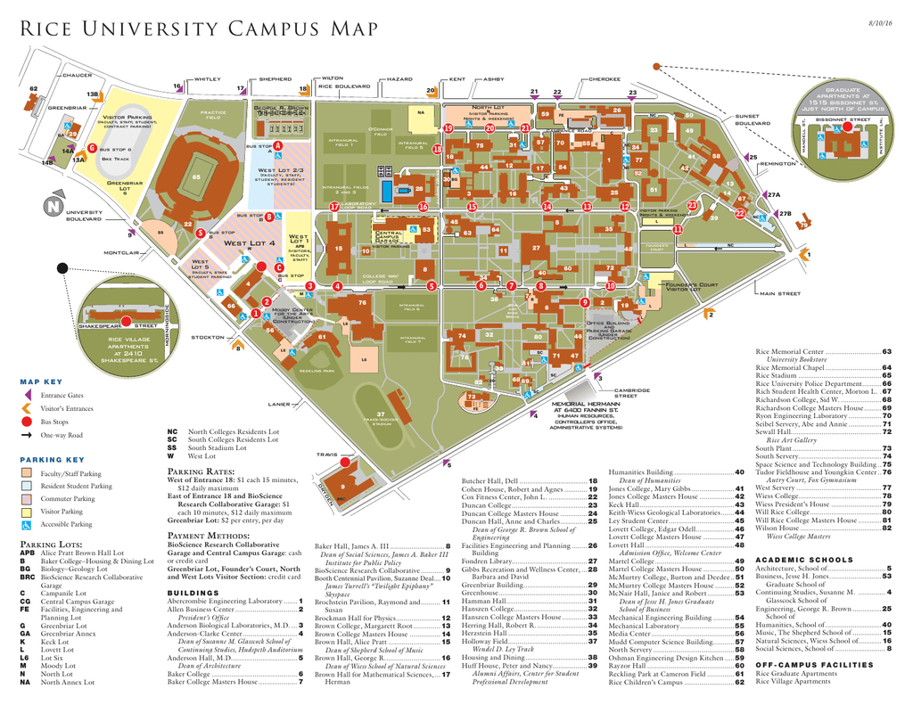 Rice Campus Map Rice University Campus Map