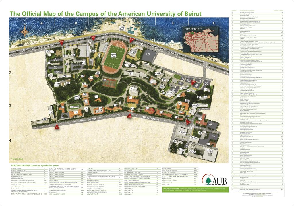 AUB Campus Map American University Of Beirut - American university map