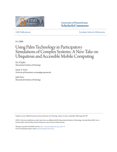 Using Palm Technology in Participatory Simulations of Complex