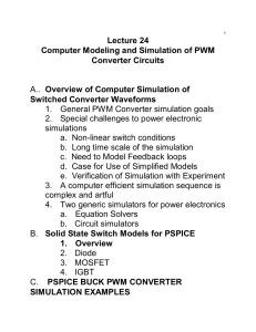 Lecture 24 Computer Modeling and Simulation of PWM Converter
