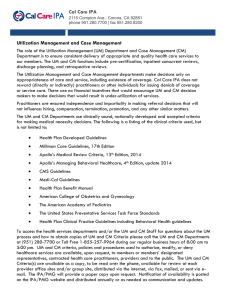 Cal Care IPA Utilization Management and Case Management