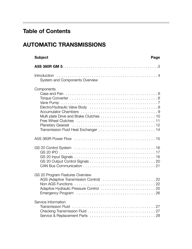 Tremendous Table Of Contents Automatic Transmissions Wiring Database Lotapmagn4X4Andersnl