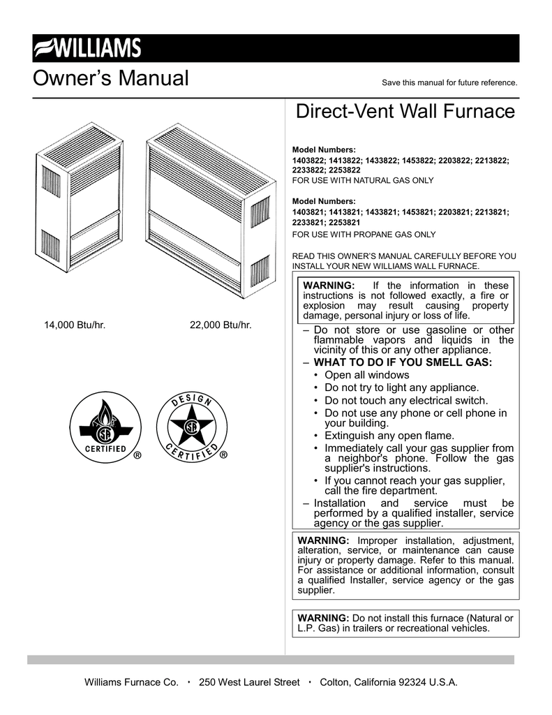 Owners Manual Williams Wall Furnace Limit Switch Wiring Diagram