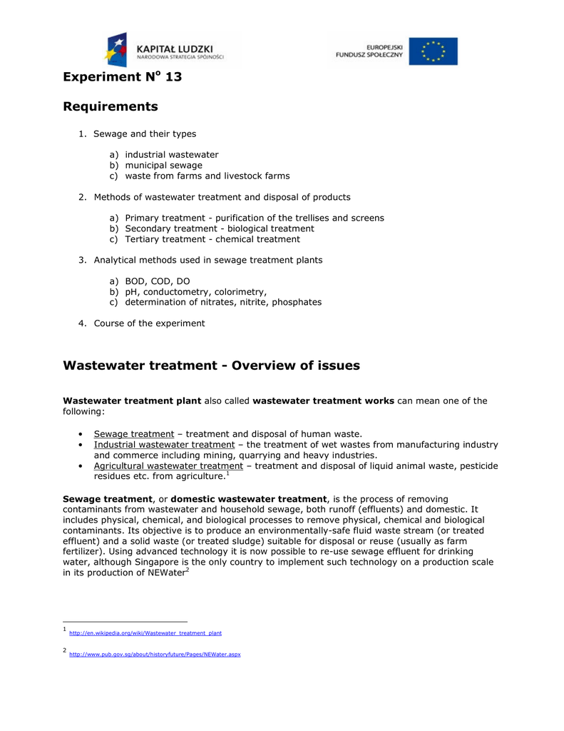 Experiment No 13 Requirements Wastewater treatment