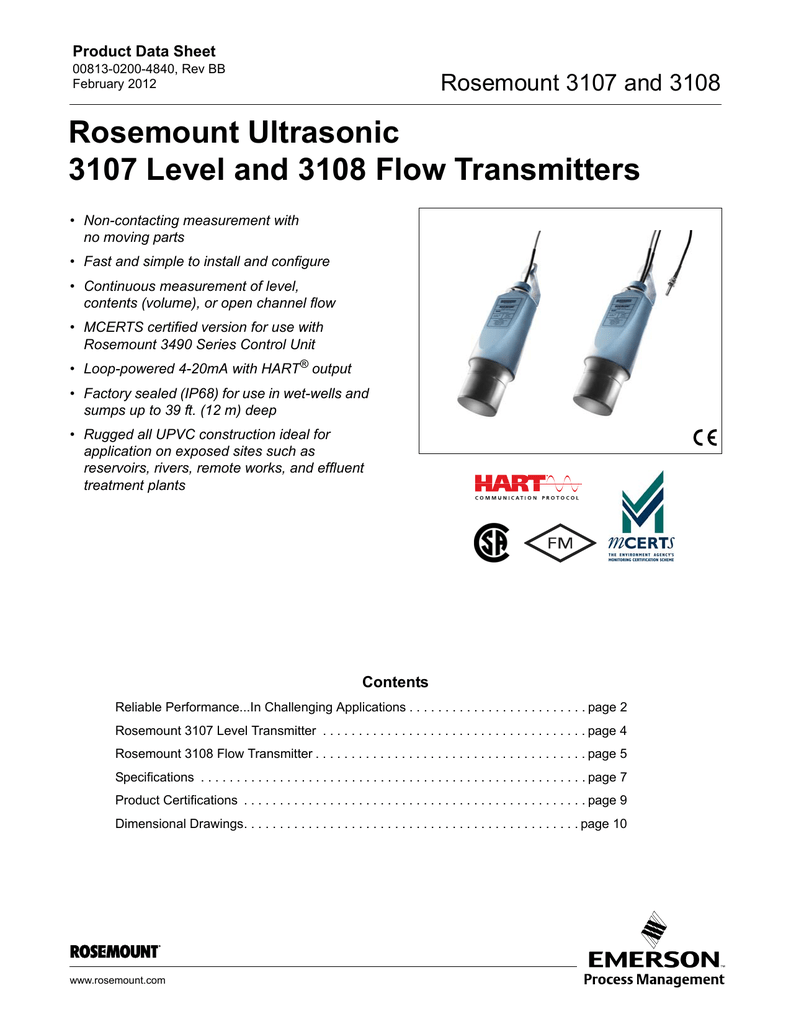 Rosemount 3107 / 3108 Ultrasonic Level and Flow on