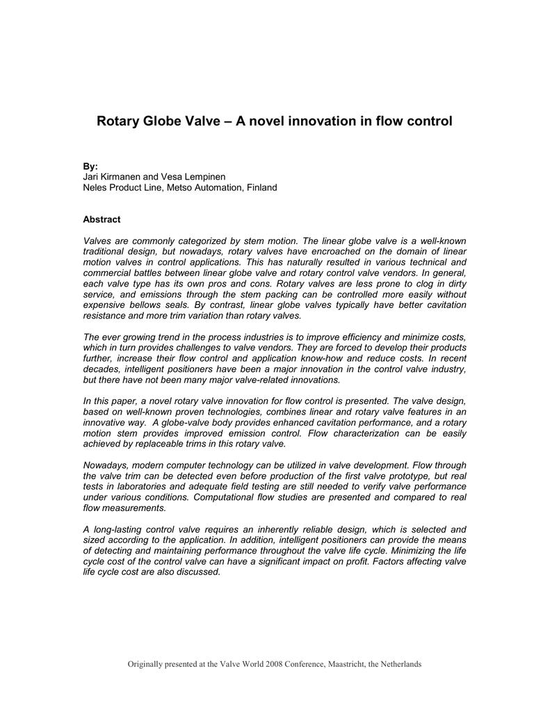 Rotary globe valve a novel innovation in flow control publicscrutiny Gallery