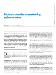 Factors to consider when selecting a diverter valve