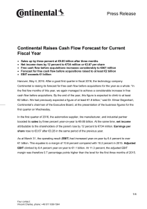 Continental Raises Cash Flow Forecast for Current Fiscal Year