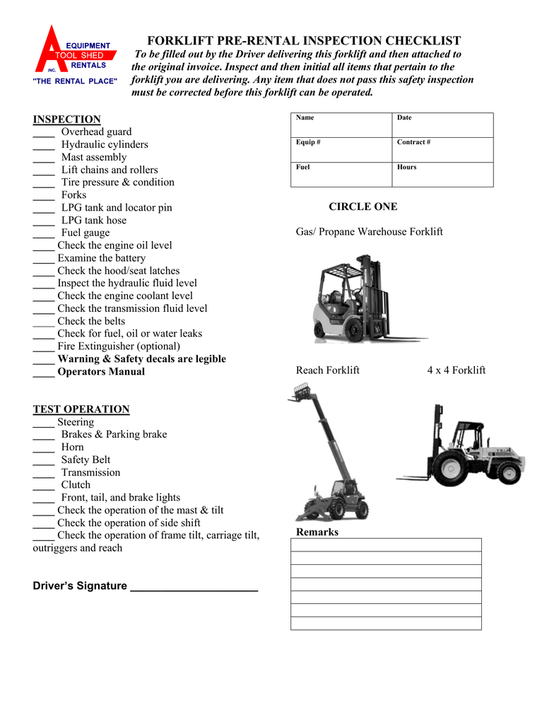 FORKLIFT DAILY and RENTAL INSPECTION CHECKLIST