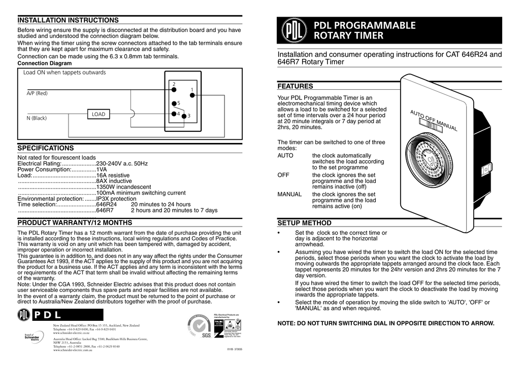 [SCHEMATICS_49CH]  646R24 and 646R7 PDL Programmable Rotary Timer, 373035 | Rotary Timer Switch Wiring Diagram |  | Studylib