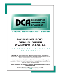 swimming pool dehumidifieR owneR`s manual