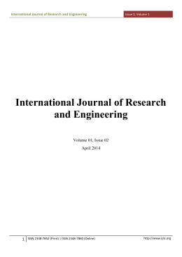 Volume 1 Issue 2 - International Journal of Research and Engineering