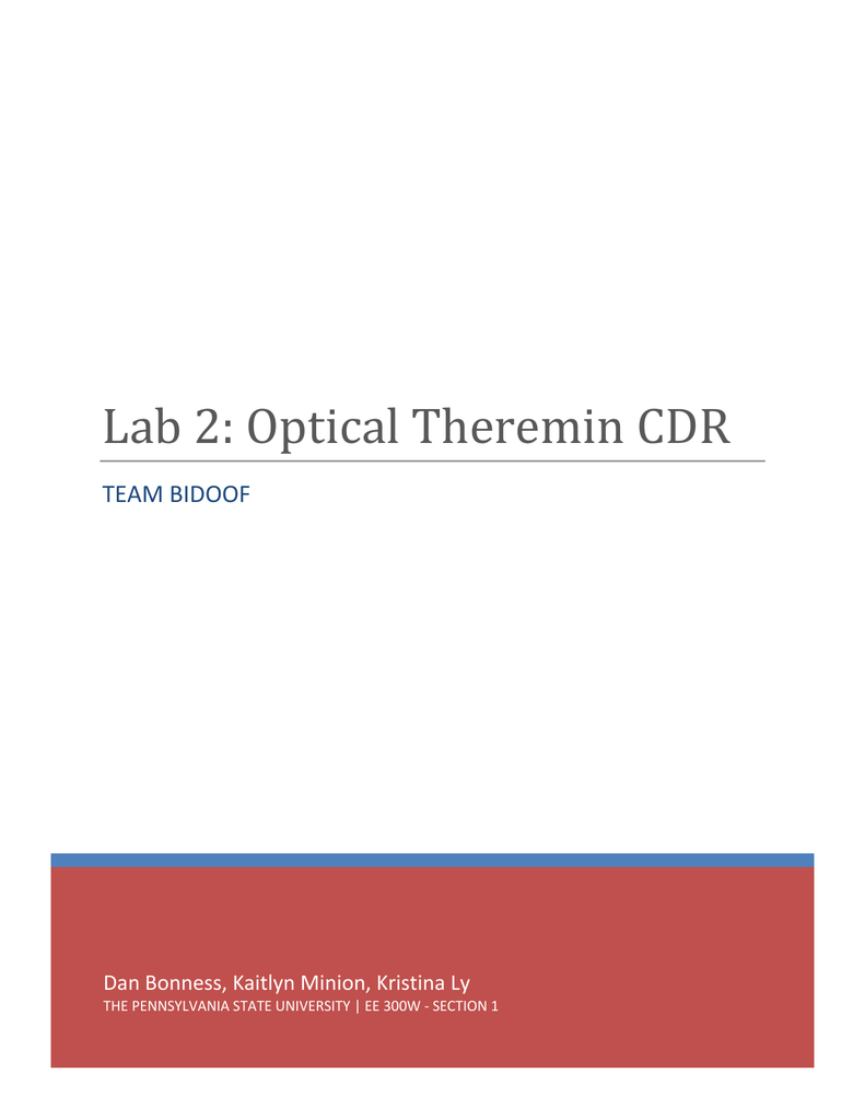 Optical Theremin Critical Design Review Figure 1 Block Diagram For The Circuit