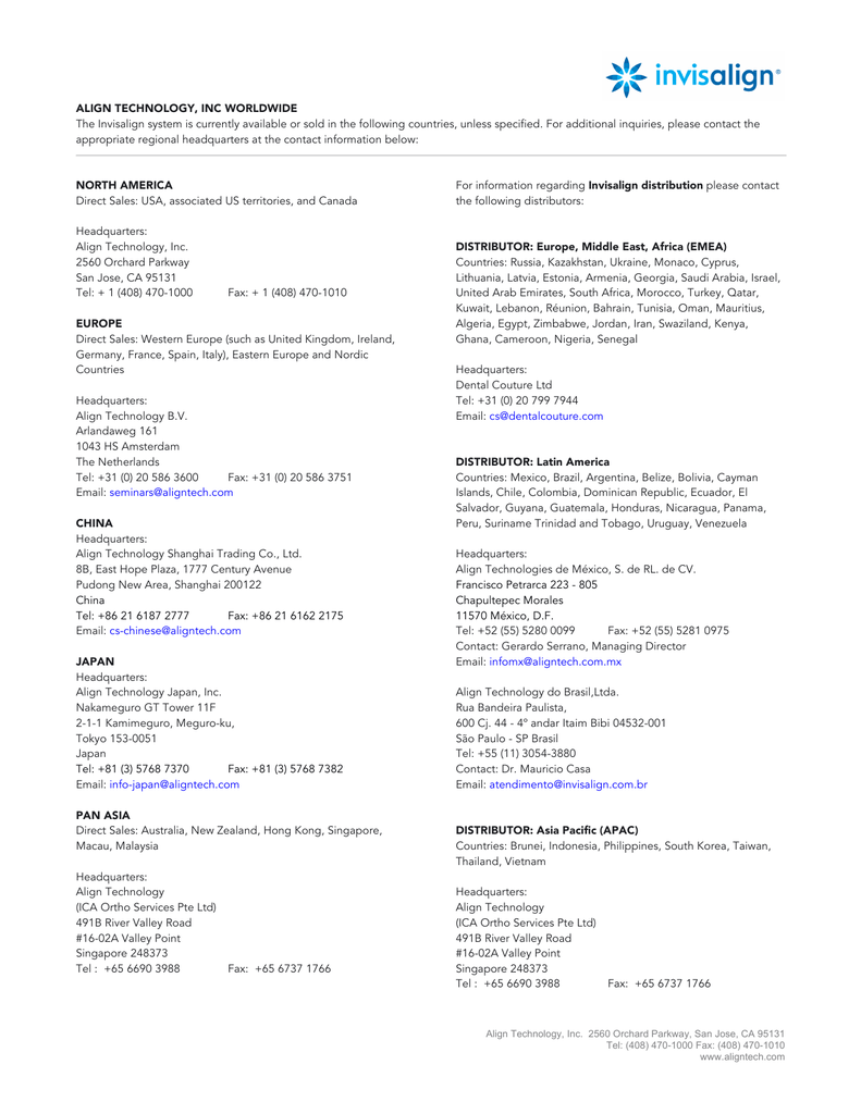 Align Technology Worldwide Offices Jan 2015