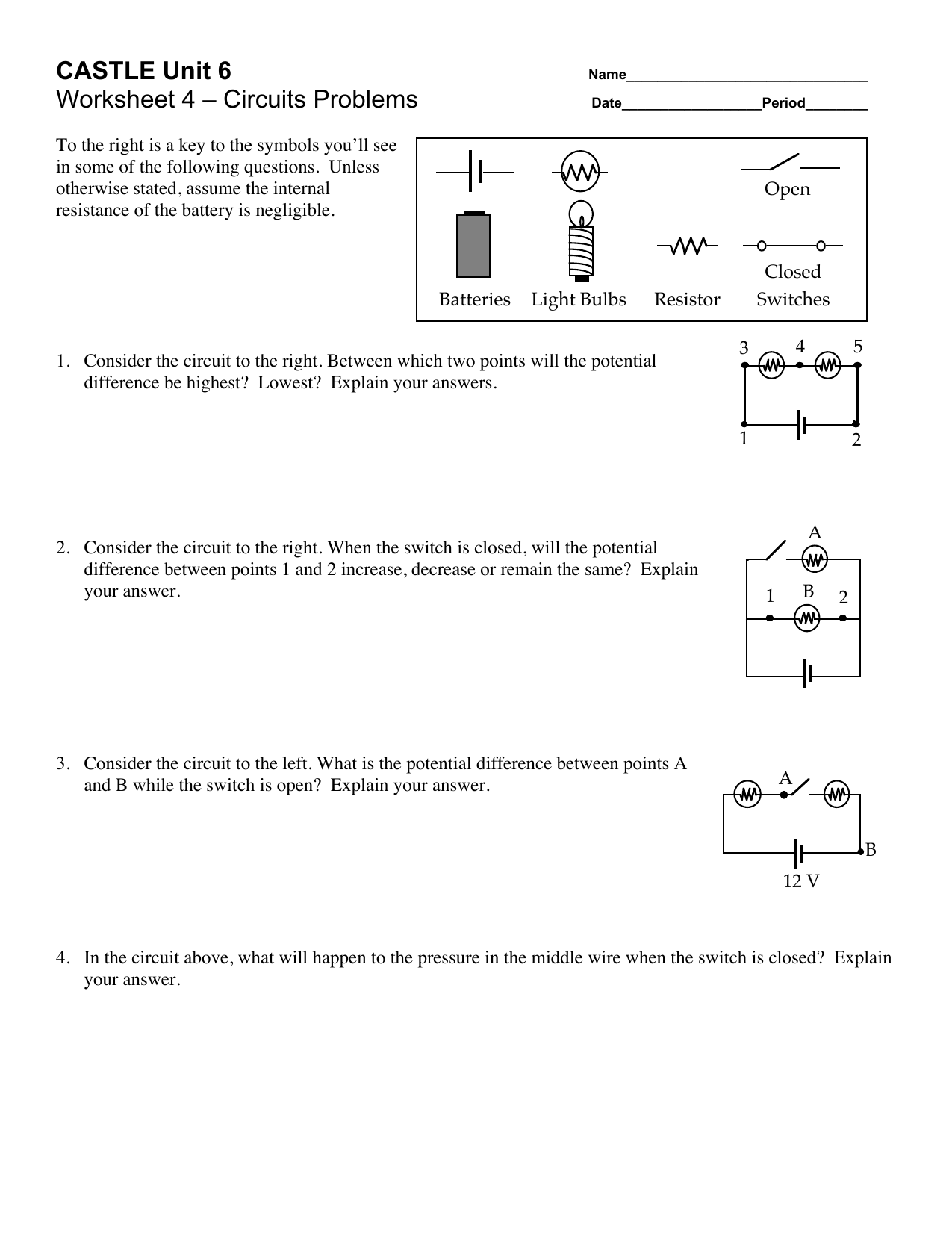Castle Unit 6 Worksheet 4 Circuits Problems What Is The Circuit