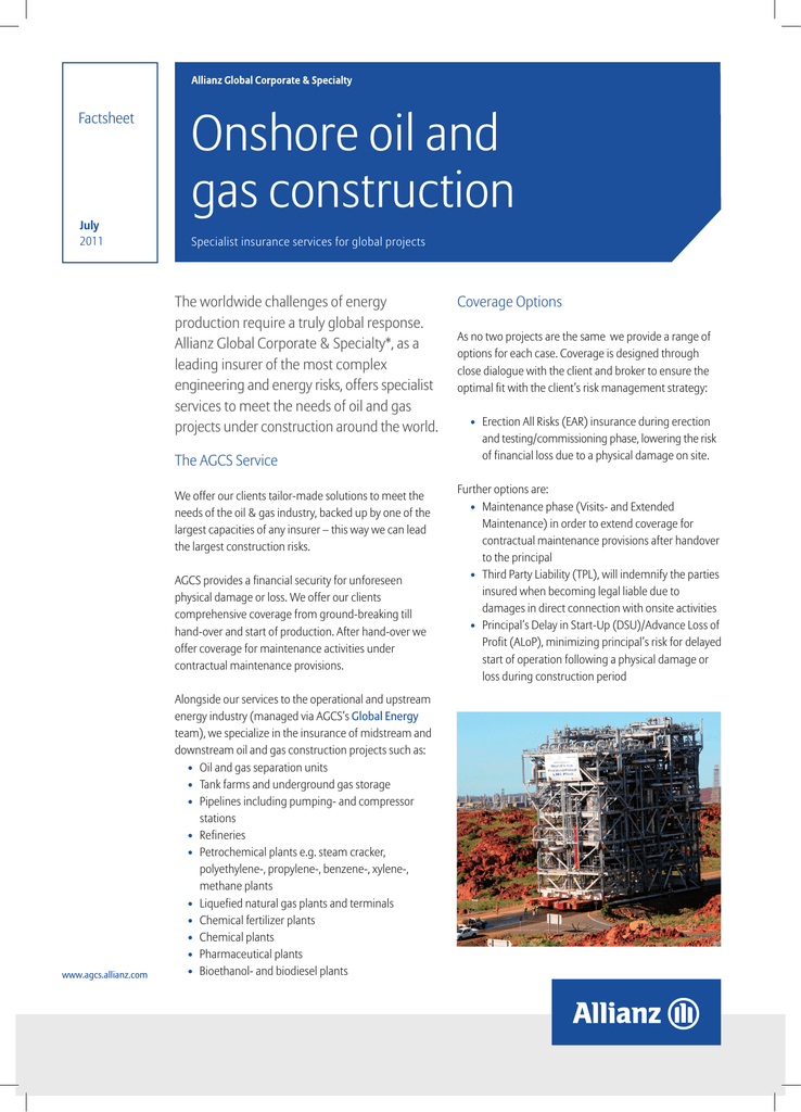 Onshore oil and gas construction