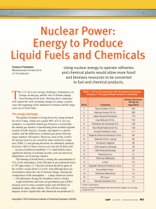 Energy to Produce Liquid Fuels and Chemicals