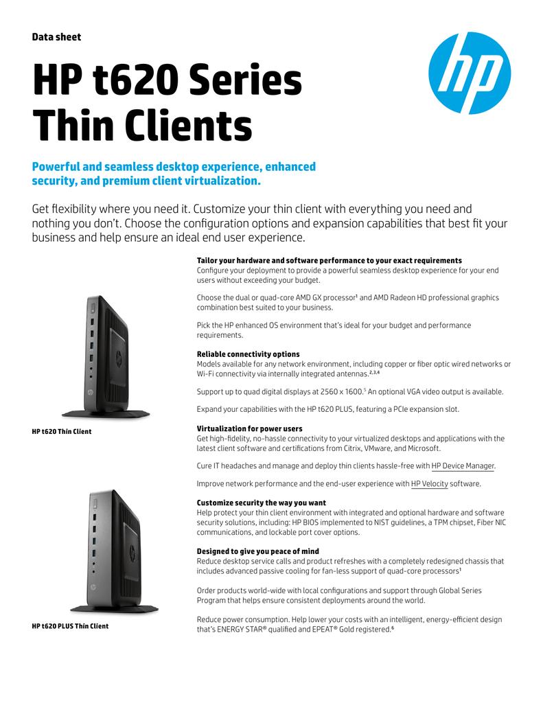 Data sheet HP t620 Series Thin Clients