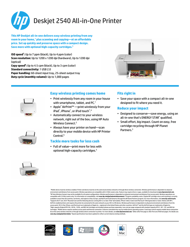 Deskjet 2540 All-in-One Printer