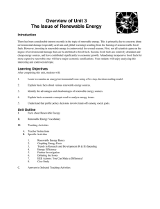 Overview of Unit 3 The Issue of Renewable Energy