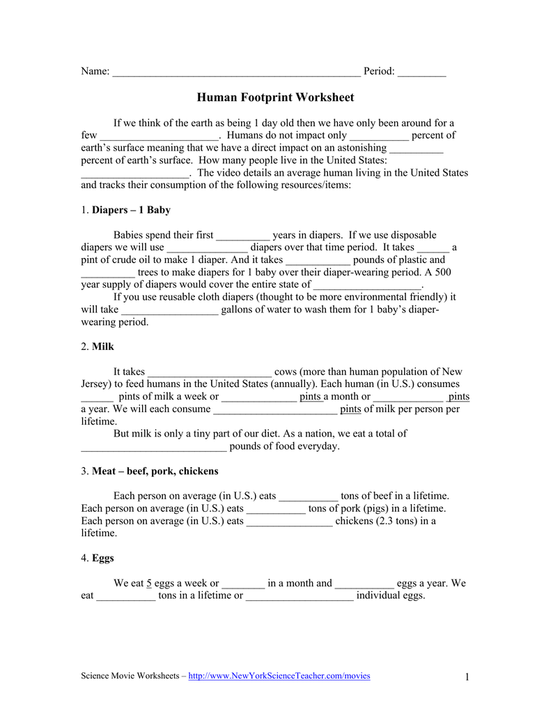 worksheet Human Population Worksheet human footprint worksheet new york science teacher
