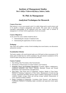 Institute of Management Studies M. Phil. In Management Analytical