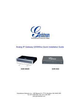 Analog IP Gateway GXW40xx Quick Installation Guide