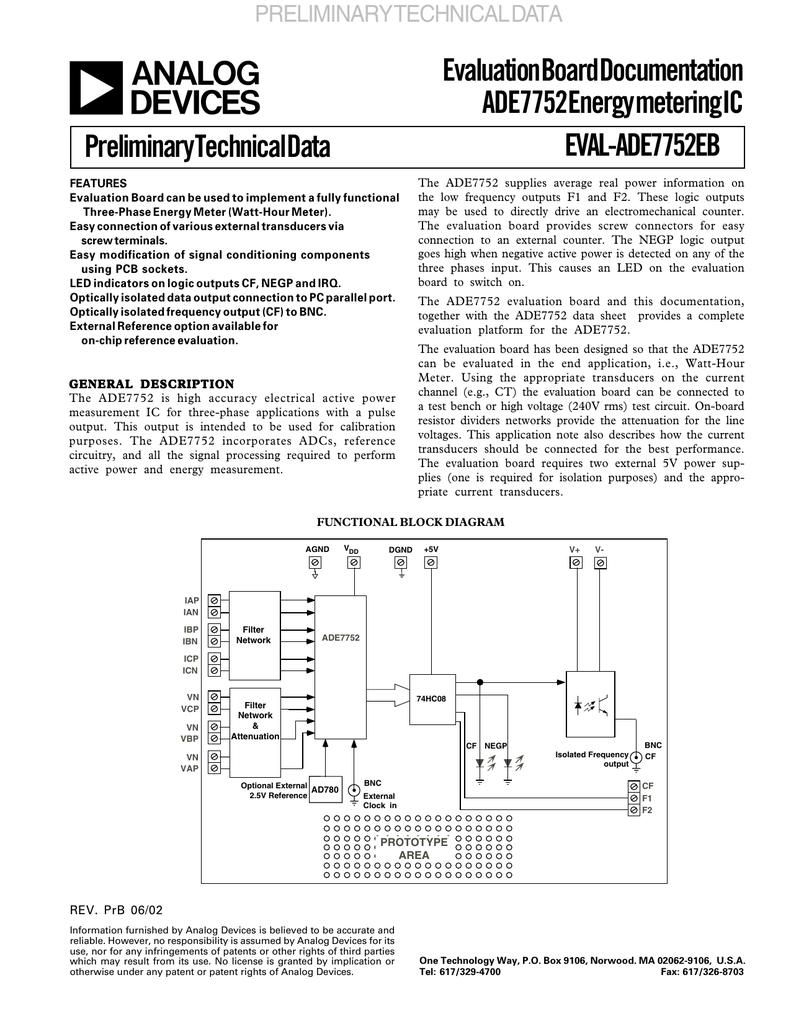 evaluation board documentation ade7752 energy metering ic rh studylib net