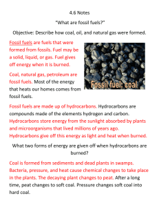 "4.6 Notes ""What are fossil fuels?"" Objective: Describe how coal, oil"