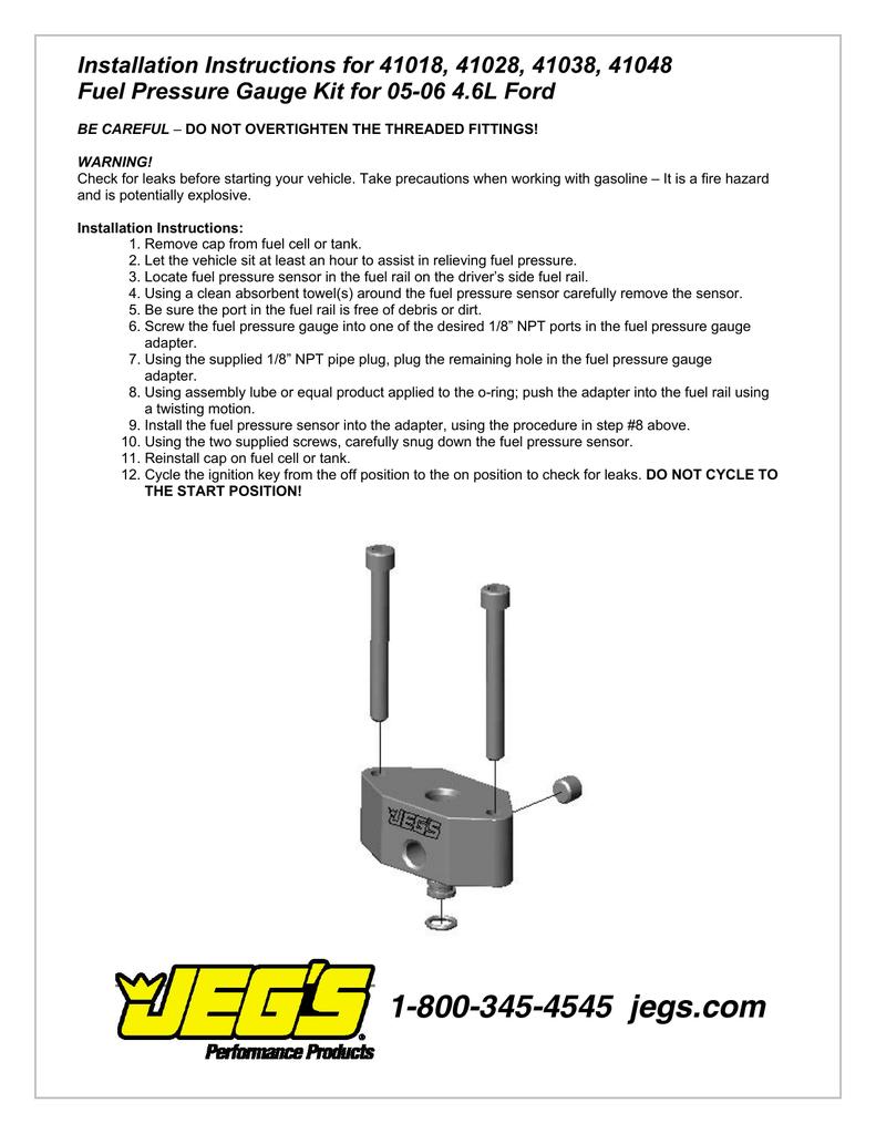 JEGS 41018 Fuel Pressure Gauge Adapter Installation Instructions