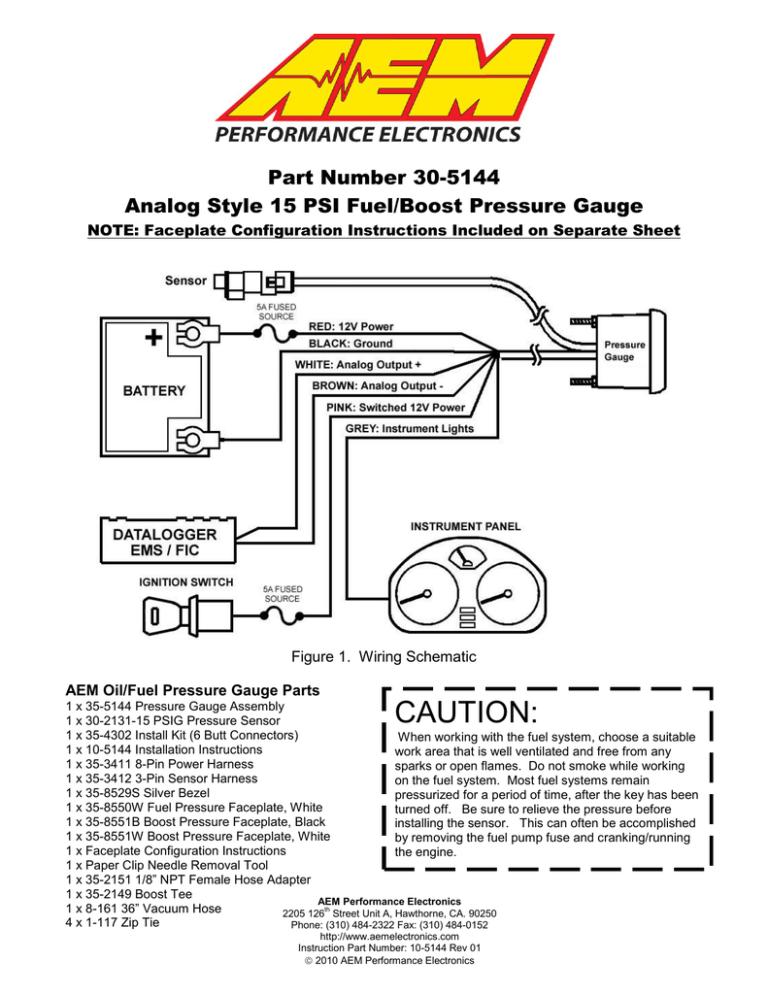 Instructions, Aem Boost Gauge Wiring