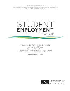 2015-2016 Student Employment at USF Handbook
