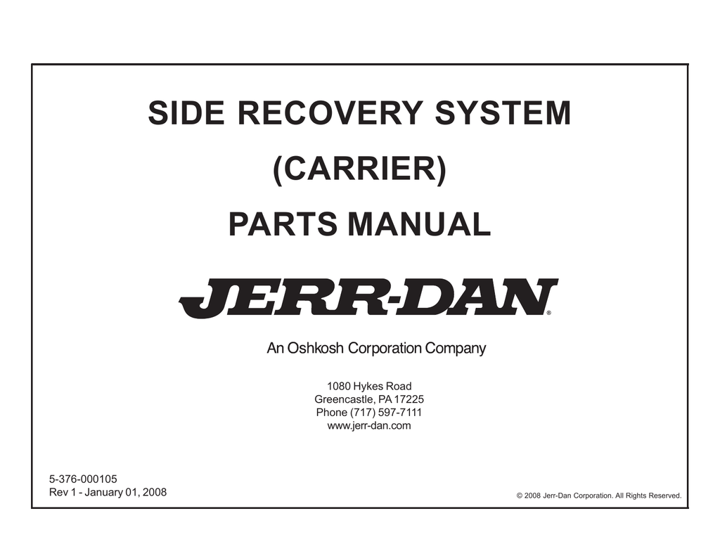 side recovery system carrier parts manual jerr dan