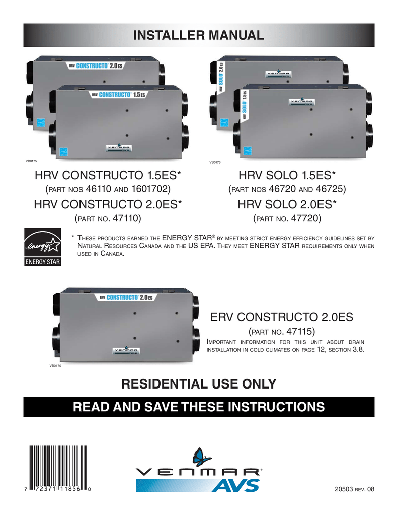 Hrv And Erv Constructo Solo Inst Manual 20503 Rev Electric Baseboard Wiring Diagrams 120 6feet