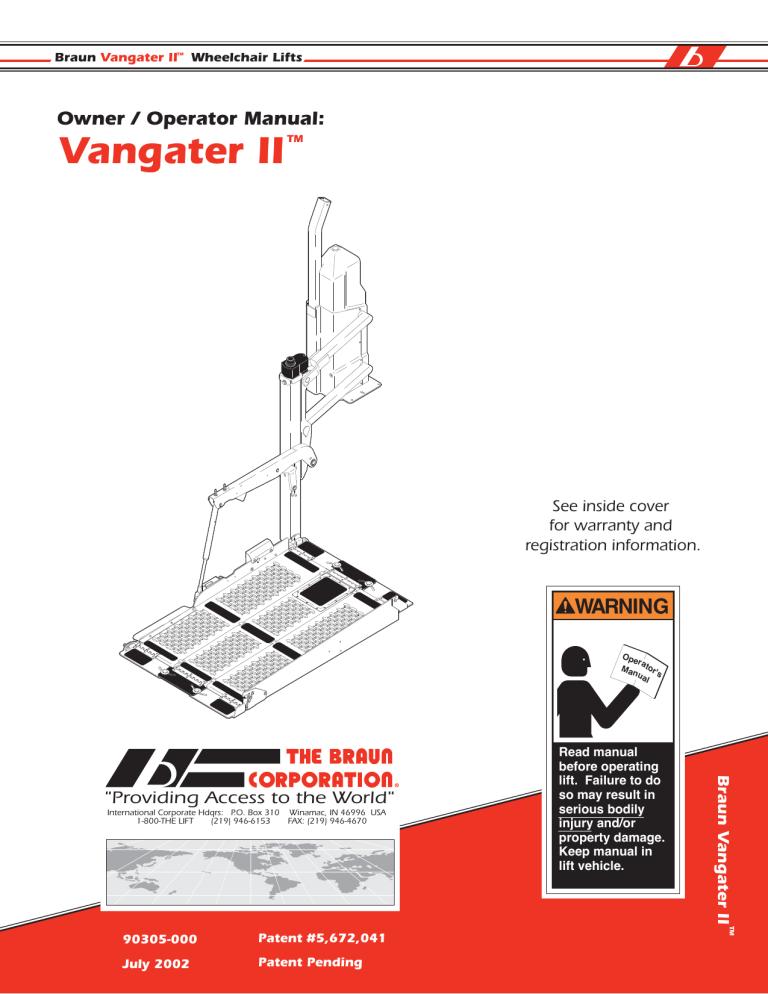 Vangater Ii, Braun Wheelchair Lift Wiring Diagram
