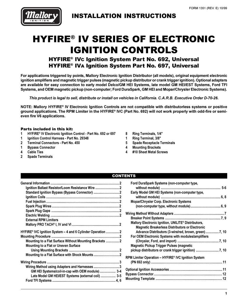 hyfire® iv series of electronic ignition controls on