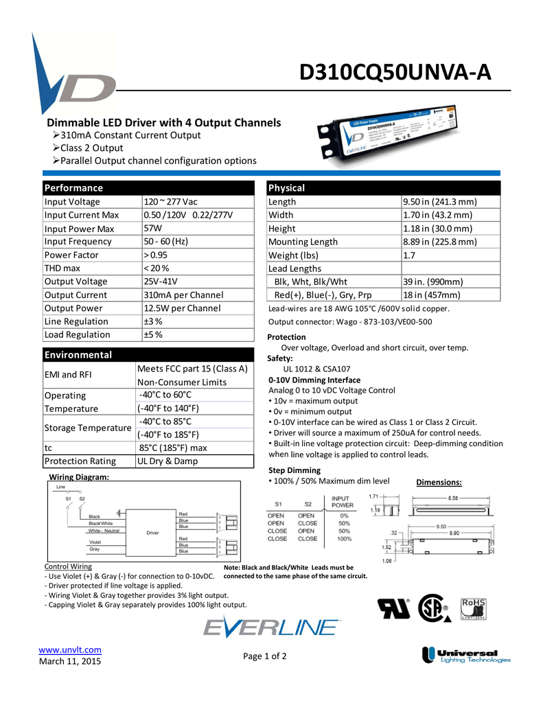 D310cq50unva A 0 10v Dimming Wiring Diagram