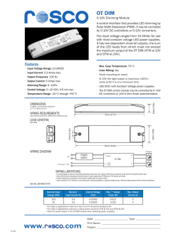 Rosco Laboartories OT DIM Module Spec Sheet